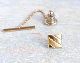 Square Tie pin - Vintage Golden Tie Tac
