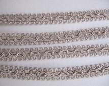 3 yds vintage French passementerie trim cafe au lait or pale taupe, french woven trims, Made in France, dark ivory trim, cream french trims