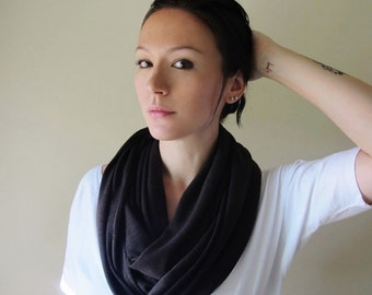 DARK BROWN Infinity Scarf, Chocolate Brown Circle Scarf, Loop Scarf, Eternity Scarf, Jersey Cotton Scarf