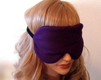 RAW SILK Eye Mask Sleep Mask, Eggplant, Fully Adjustable Velvet Elastic Strap, Light Blocking, Anti-Wrinkle/Aging, Stimulates Circulation
