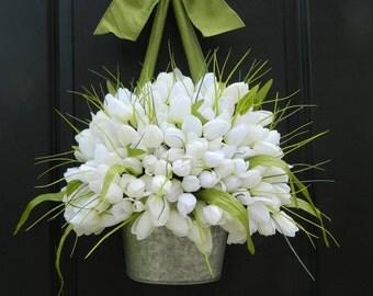 Spring Wreath - Custom Tulip Wreath - Personalized Wreath - Tulip Pail - Tulip Basket - Easter Wreath