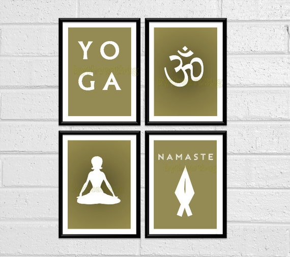 Yoga Set of Four Wall Art Prints Wall Decor 8x10 Downloadable Printable Digital Yoga Pose Om Symbol Namaste Silhouettes Taupe Yoga Studio