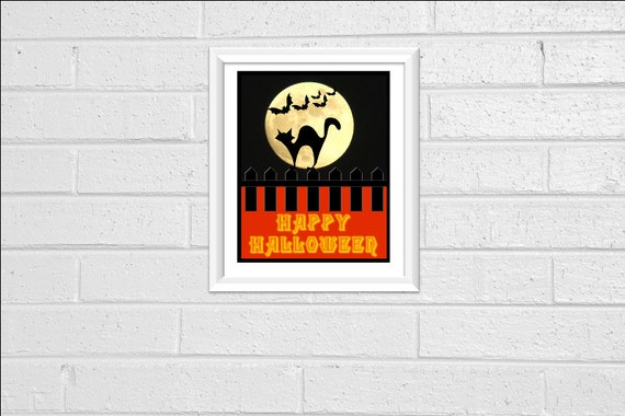 Happy Halloween Print Art Print Wall Decor 8x10 Downloadable Printable Digital Orange Black Cat Moon Bats Decor Decoration Sign Silhouette