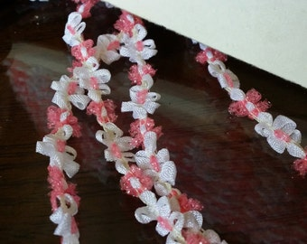 "3/8"" Vintage French Rococo Light Pink cello and White ribbon flower trim, rosette trim"
