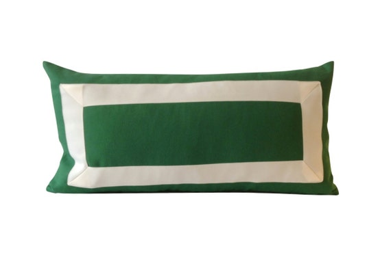 Kelly Green Cotton Canvas Decorative Pillow Cover with Off White Grosgrain Ribbon Border - Cushion Covers