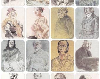 Soviet Actors, Portraits by Levitsky. Set of 16 Vintage Prints -- 1988. Fine Arts, Moscow