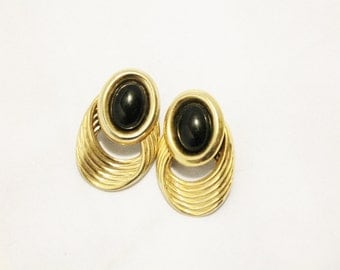 Interesting Gold With Black Vintage Fashion Earrings - Pierced
