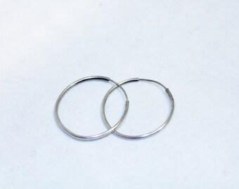 Very Thin / Delicate 925 Silver Hoop Earrings- Pierced