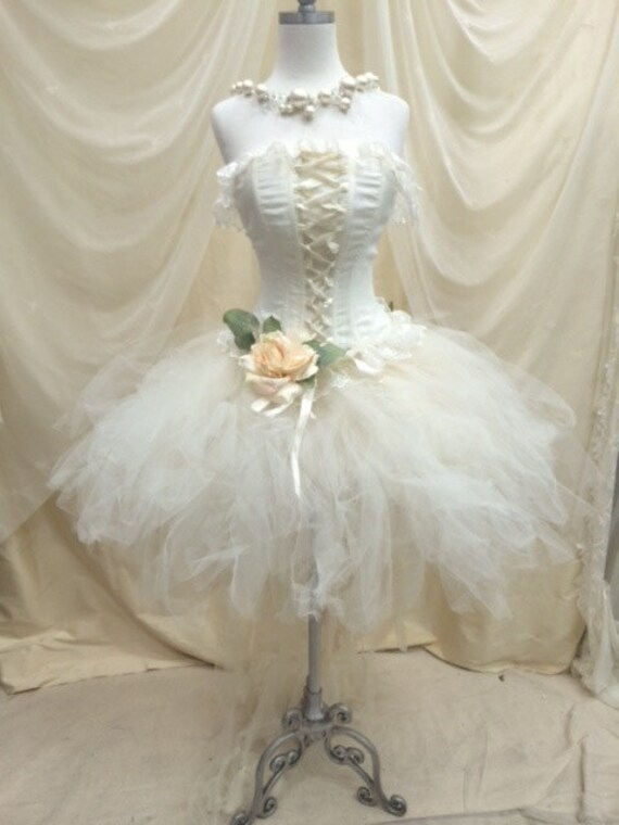 Wedding Ivory  tutu and corset, Prom corset tutu set//Quinceanera//Alba by Elena