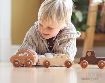 three wooden TOY CARS - an all natural keepsake gift set for baby and toddler - organically finished hardwood toy truck, racer, and love bug