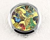 Art Deco Compact Mirror, Vintage Butterflies in Bright Colors, Pocket Mirror 1920s Design, Bridesmaid Gift