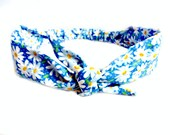 Daisy Head Scarf Vintage Inspired Pin Up Summer Boho Tie Headband, Hair Bow Rockabilly Bandana