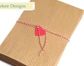 50 Flat kraft embossed candy bags. Polka Dot paper bags for wedding favors and gift wrap