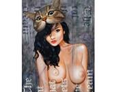 Cream - Original Painting - LTD Canvas Print -  Nude Erotic Street Art by British London Artist Sku Style