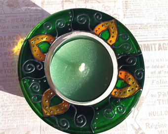 Glass Tea Light Holder in Green,  Hand Painted Glass Decoration, Candle Holder, Glass Tea Light Holder, Ready to Ship