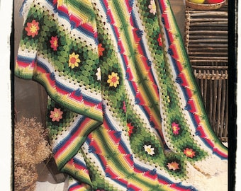 Instant Download PDF Crochet Pattern to make a Multi Coloured Carnival Fiesta Afghan Mexican Saltillo Afghan Rug Blanket Sofa Throw