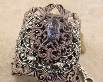 Romantic Embellished Brass Cuff Bracelet, Silver Plum