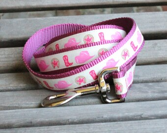 Cowgirl Dog Leash in pink