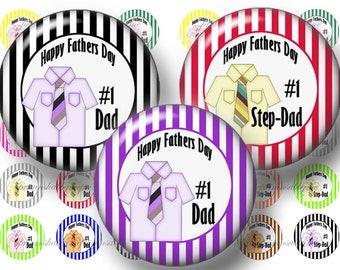 Fathers Day, 1 Inch Circles, Digital Download, Bottle Cap Images, 2 Digital Collage Sheets, No. 1  DAD Step Dad, (No.1)  Instant Download