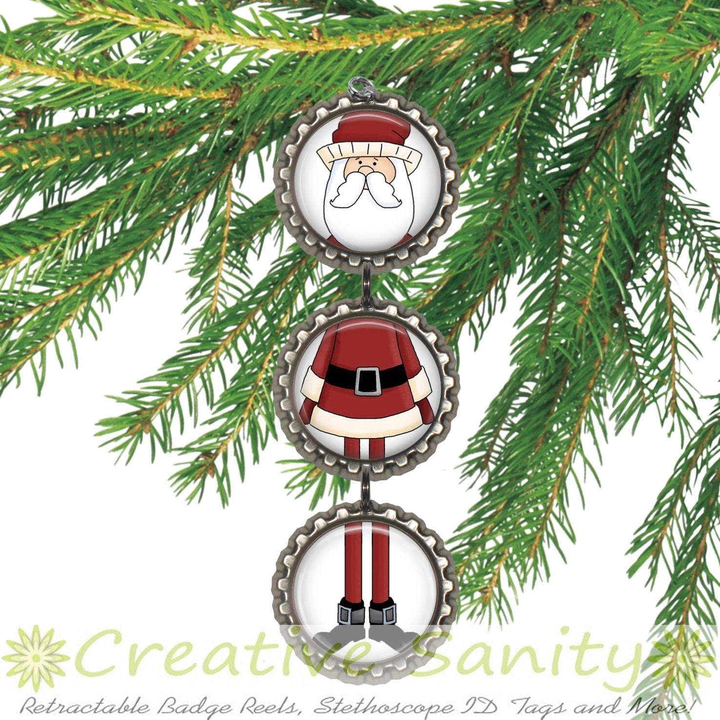 Bottle Cap Christmas Ornament Old Fashioned Santa Santa