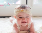 Lace Headband.Lace Turban. Baby Headbands.Hair Accessories. Gold Headband.Lace Turban.Baby Girl Headband.Newborn Headband.Baby Bow.Baby Girl