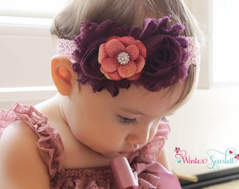 20% off entire order.. Baby headbands...Wild grape lace rosette headband, newborn headbands, infant, toddler, adult