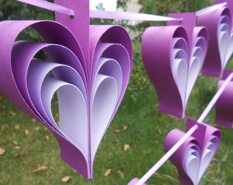 TWO Garlands Of PURPLE & LILAC Hearts. 10 Hearts. Wedding, Shower Decoration, Home Decor. Custom Orders Welcome. Any Color Available.