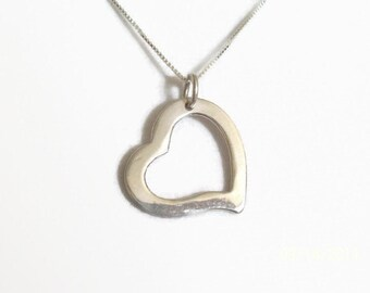 Valentine Sale Sterling Silver Heart Necklace Heart Charm Jewelry