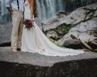 Rustic Mermaid Wedding Gown, Boho Cotton Lace Wedding Gown, Hemp Silk Wedding Dress, Mermaid Strapless Sweetheart wedding dress Eco Friendly