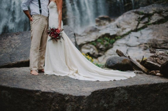 Cotton Wedding Gown: Rustic Mermaid Wedding Gown Boho Cotton Lace Wedding Gown