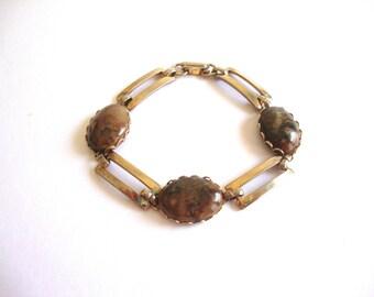 Vintage Jasper Bracelet: Brown Links vintage gold tone and jasper link bracelet
