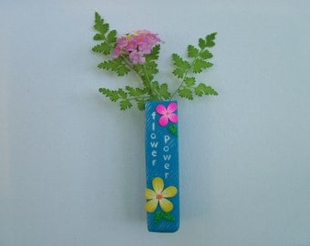 Polymer Clay Magnetic Flower Vase, bud vase, refrigerator magnet, magnetic pen holder
