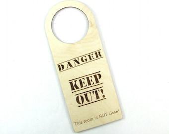 READY-to-SHIP SALE. Door Hanger. Kid's Room. Birthday Gift. Fun Gift. Danger Keep Out! Kid's Bedroom. Wood Door Sign. Bedroom Sign.