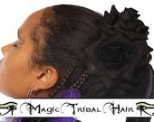 2 x BLACK VELVET ROSE hair flower clip Goth Lolita fascinator Dark Tribal Fusion jewelry Belly Dance costume accessory Reenactment barrette
