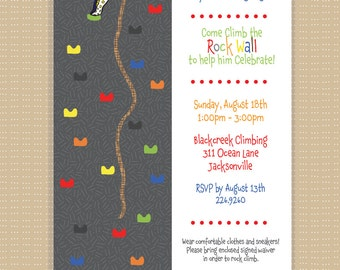 Rock Wall . Birthday Party Invitation . Any Colors . Boy or Girl