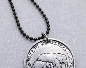 Elephant Pendant - ELEPHANT COIN necklace. Mother and baby elephant - African elephant - Africa necklace - Elephant jewelry - baby elephant