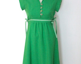 vintage 1970s green Casual Corner dress / size S