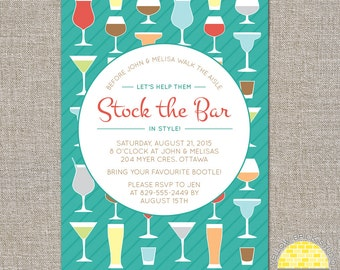 stock the bar engagement party invitation - mixed drinks - DIY printable file by YellowBrickStudio