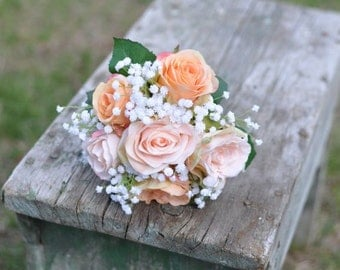 Bridesmaids Bouquet, Silk Wedding Bouquet, Rose and Baby Breath Bouquet made with silk flowers.