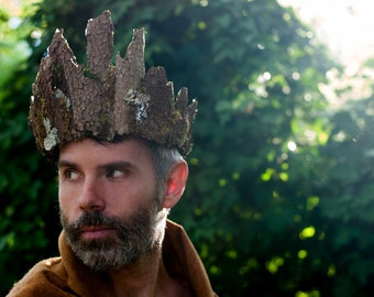 Woodland Wedding Crown for Men- Tree Bark and Moss Crown for Men- Woodland Elf King- Mens Elf Costume- Mens Crown- LARP- Forest King- Crown