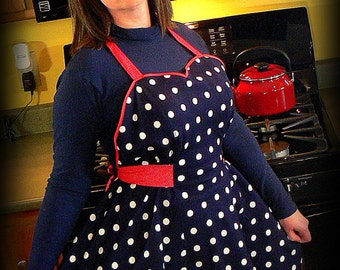 1940s Style Navy Polka Dot Apron with Sweetheart Neckline - AMERICANA, red white blue, flirty pin up apron, made to order, not already sewn