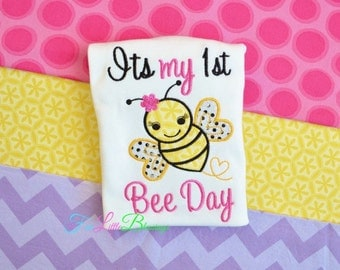 My first bee day - happy birthday - happy bee day- first birthday - 1st birthday - 1st birthday outfit - baby shower gift - little girl
