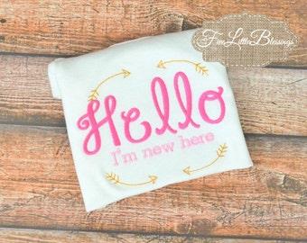 Hello Im new here - newborn - baby shower gift - baby shower - new here - new baby - take home outfit -