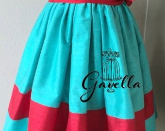 Girls custom FULLY smocked bodice, silk dupioni dress w/ruffle trimmed sleeves and stripe hem. Free matching bow. Two colors of your choice.