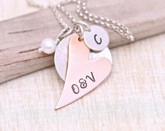 Mother's Necklace, Personalized Necklace, Heart Necklace, Mixed Metal Personalized Jewelry, Charm Necklace