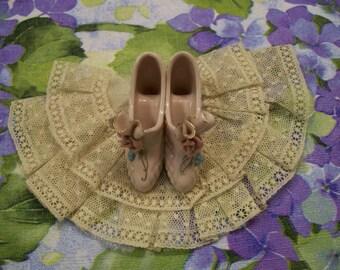Delicate Shoe Figurine Vintage Pair of Pink Heels  Very Feminine