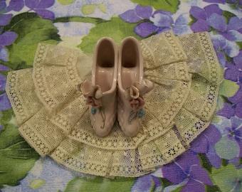 Delicate Shoe Figurine Vintage Pair of Pink Heels  Very Feminine Pink High Heel Shoes Decorative Porcelain Accessory Ideal for Boudoir
