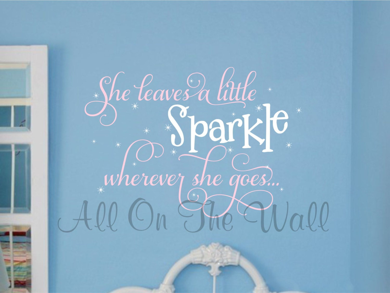 Sparkle Saying Wall Decal Girl Wall Saying She Leaves A Little