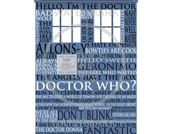Dr. Who printable. Dr. Who poster;  Whovian gift; Whovian printable; T.A.R.D.I.S. and 50 phrases from Dr. Who. A must have for all Whovians.