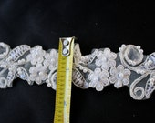 "IVORY beaded lace trim, BRIDAL TRIMMING by the yard, 1.5"" wide floral bridal lace trim by Vegas Veils. Ships Today!"